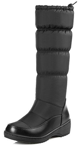 Summerwhisper Womens Warm Anti Skid Round Toe Drawstring Wedge Low Heel Fleece Lined Slip on Mid Calf Boots Shoes Black 6 BM US * Click image to review more details.