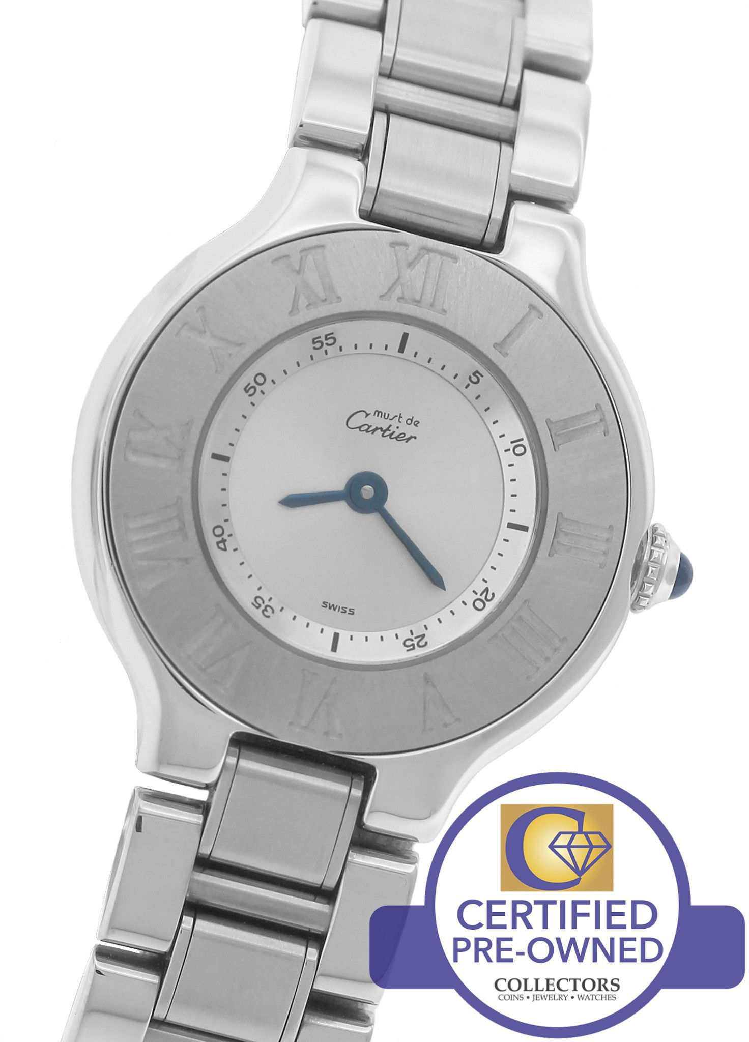 Mint Ladies Must De Cartier 21 Stainless Steel Silver Quartz 1340