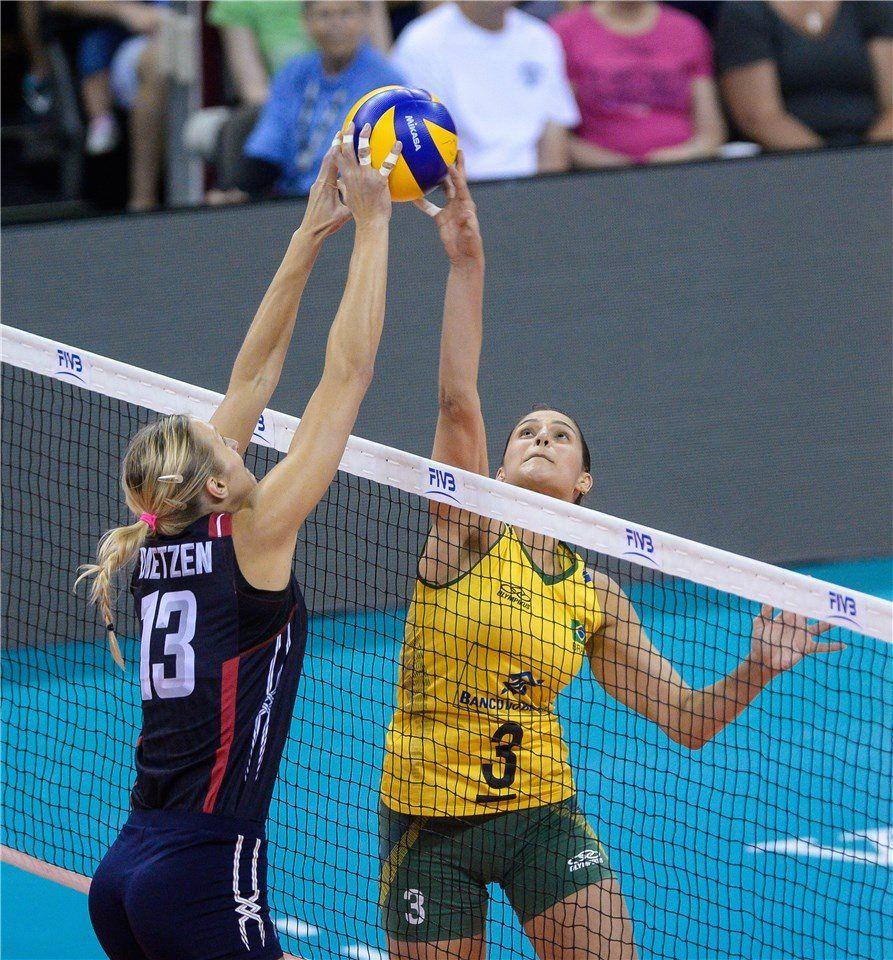Usa S Christa Dietzen Blocks A Spike Attempt By Brazil S Dani Lins During Their Fivb World Grand Prix Finals Match On 25 July