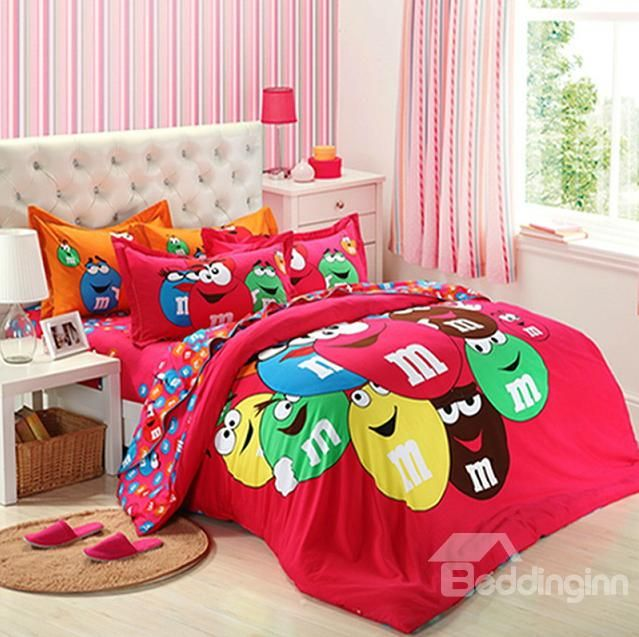 cute cartoon mu0026m marble chocolate 4 piece bedding sets