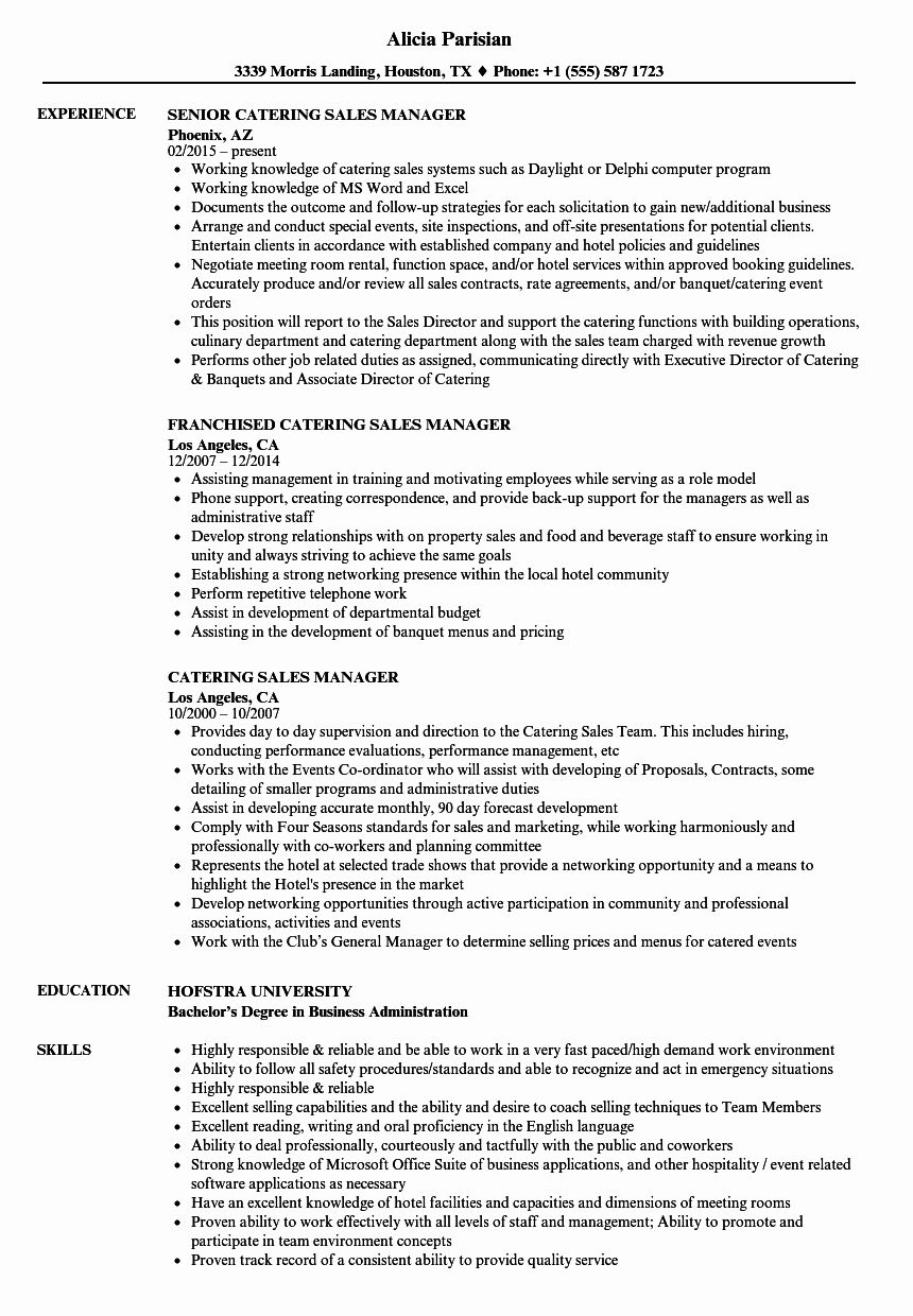 48 fresh catering sales manager resume in 2020 resume