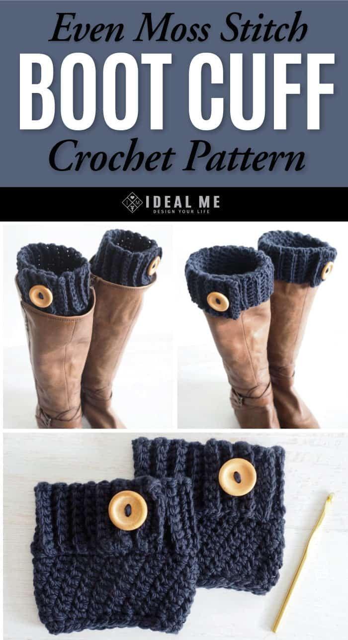 Even Moss Stitch Boot Cuff Crochet Pattern - Ideal Me
