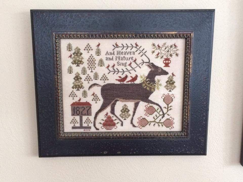 Deer Heart Folk Art Primitive Kathy Barrick Cross Stitch Pattern
