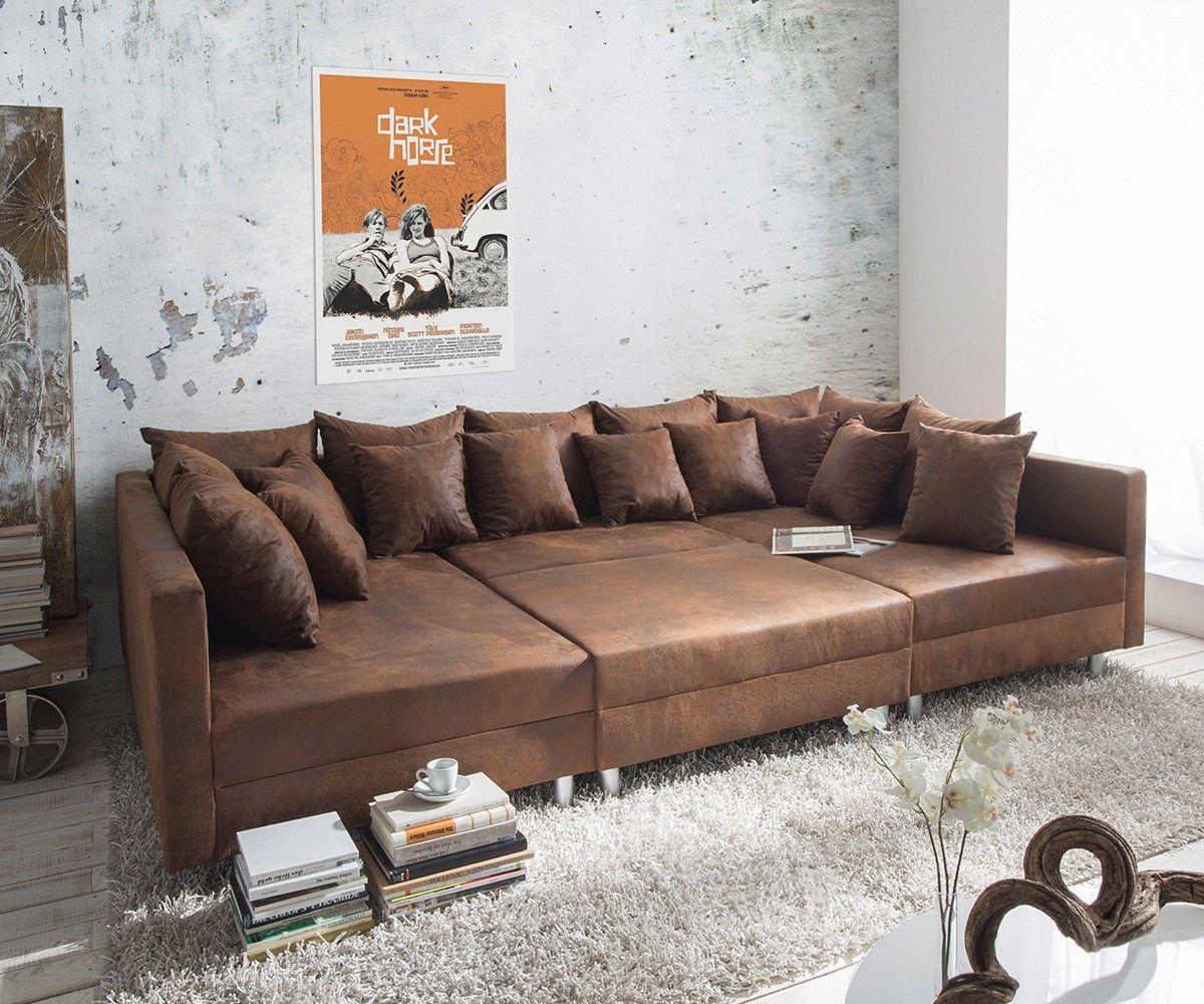 Big Sofa Cabana 304x140 cm Braun Vintage Look by Ultsch ...