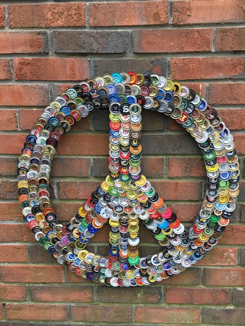 peace sign from bottle caps