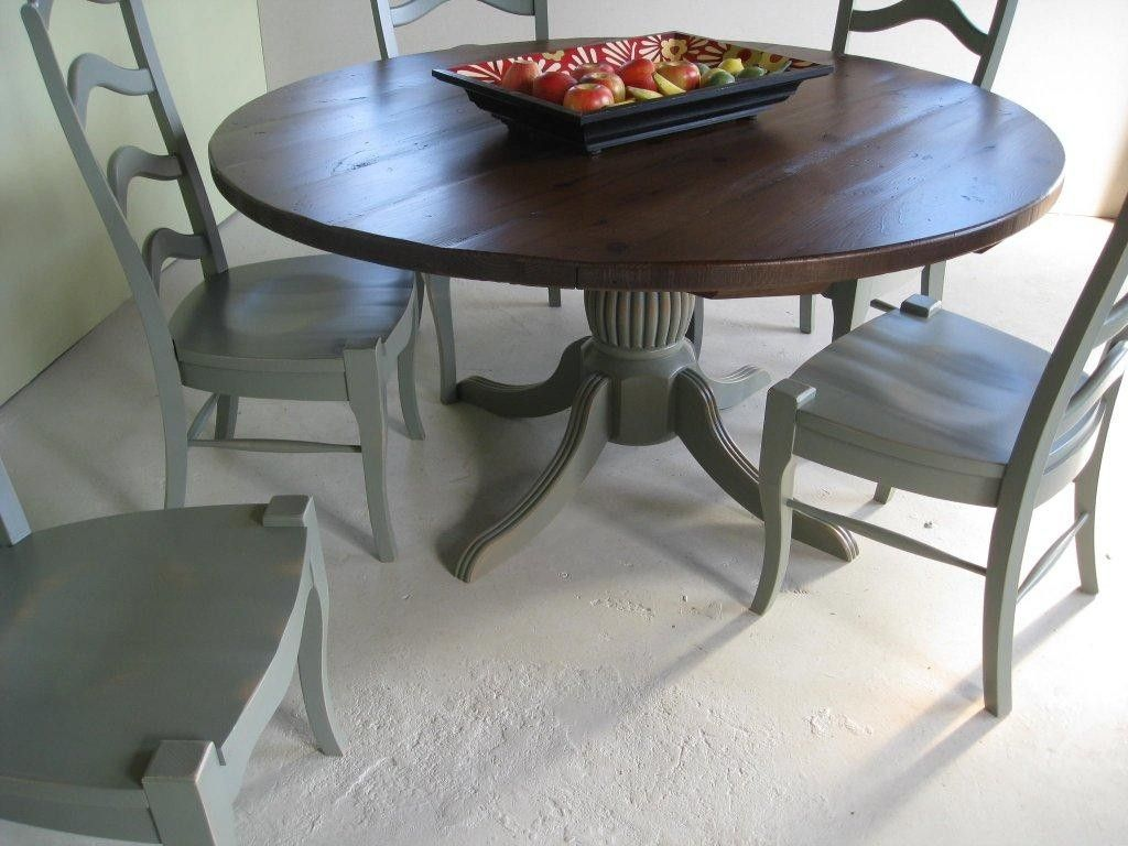 round farm table with pedestal base and matching chairs want so bad my future home farm. Black Bedroom Furniture Sets. Home Design Ideas
