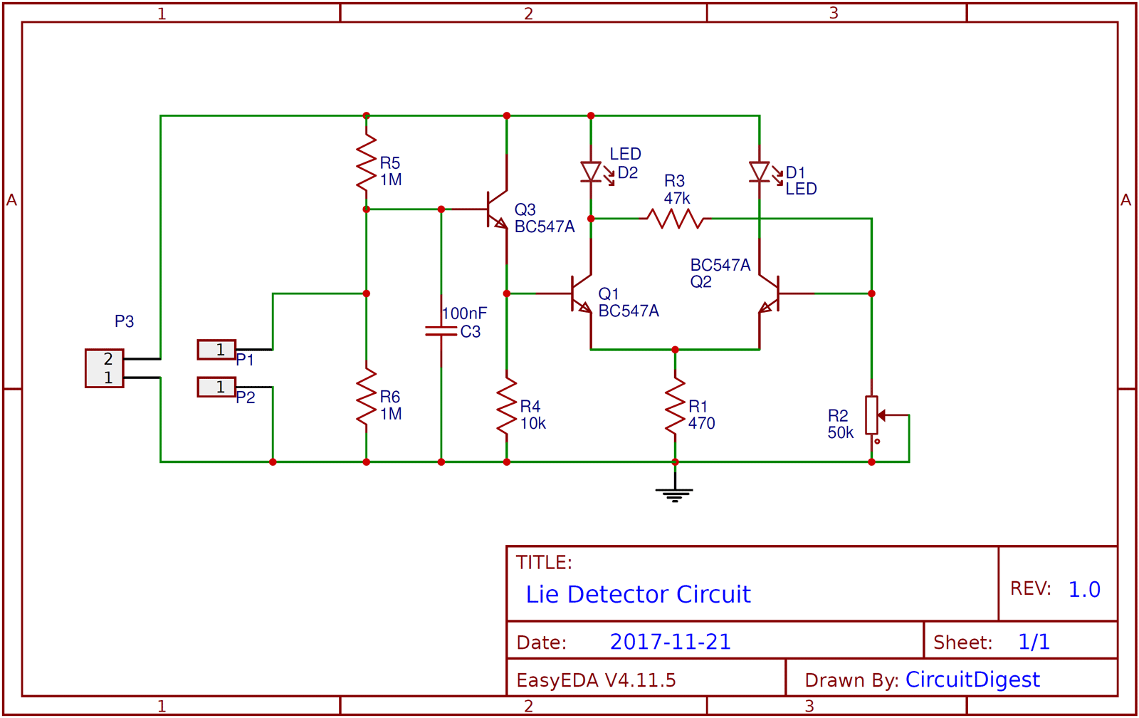 Simple Lie Detector Circuit Diagram Electronic Diagrams In Led Circuits And Projects Electronics Gadgets