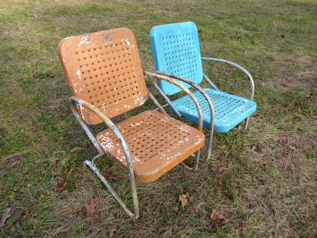 Vintage metal chairs basket weave style antique one rocking and one bounce  Bunting glider company - Vintage Metal Chairs Basket Weave Style Antique One Rocking And One