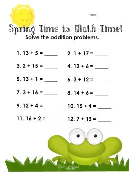 Spring time math- addition sums to 20 worksheet | Math activity ...
