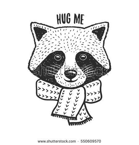 Hand drawn raccoon print. Hug me quote. Cute design element for t-shirt, posters, decoration. Vector vintage illustration.