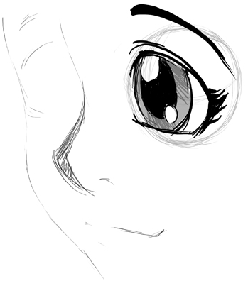 How To Draw Eyes 3 4 View In Manga Anime Illustration Style Drawing Lesson How To Draw Step By Step Drawing Tutorials Eye Drawing Drawing Tutorial Eye Drawing Simple