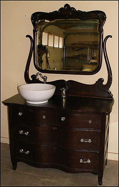 Photo of Front View - Antique Bathroom Vanity: Serpentine Oak Dresser for Bathroom  Vanity- - Photo Of Front View - Antique Bathroom Vanity: Serpentine Oak