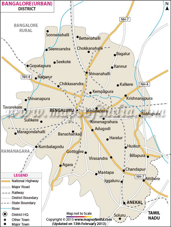 District Map of Bangalore (Urban)   District Maps   Pinterest ...