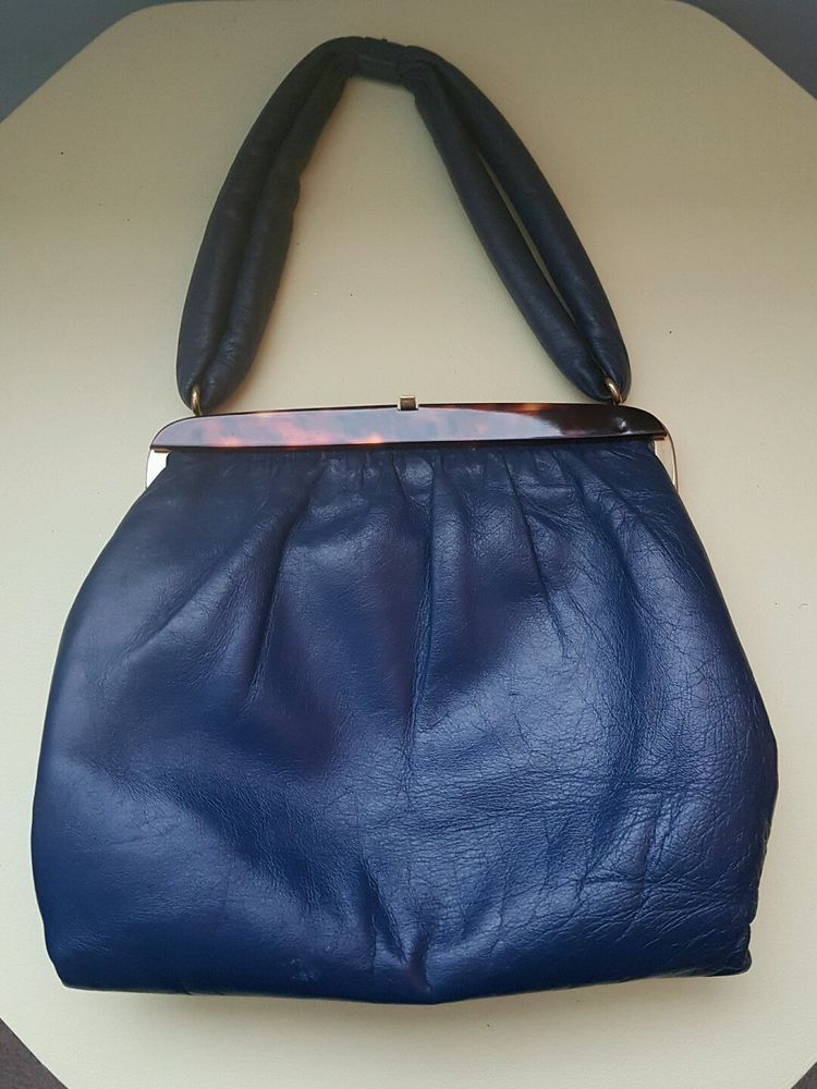 Vintage Jane Shilton Blue Soft Leather Handbag Ebay