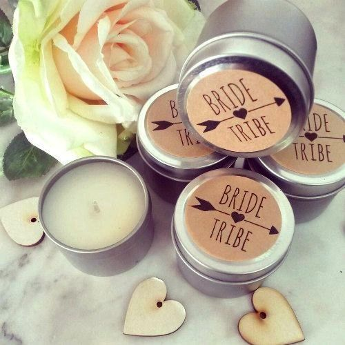 Tribe Petite Soy Candle Favors in Silver  bridesmaid gift  hens party  wedding favor Bride Tribe Petite Soy Candle Favors in Silver  bridesmaid gift  hens party  wedding...