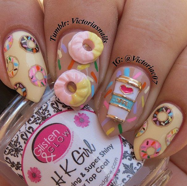 30 3d Acrylic Nail Art Designs Ideas: 30 Doughnut Nail Art Designs That Will Satisfy Your Sweet
