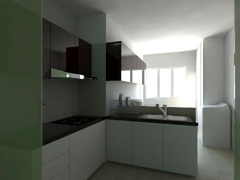 Interior kitchen cabinet design hdb 3 room flat 2 for Small bathroom ideas hdb