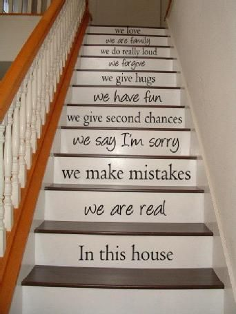 In this house we are real - STAIR CASE - Art Wall Decals Wall Stickers Vinyl Decal Quote #poachit