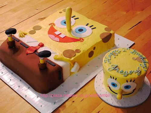 Spongebob birthday cake and smash cake Smash cakes Birthday cakes