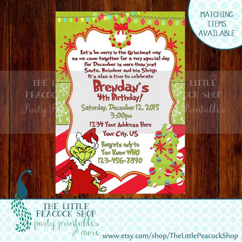 30 OFF Grinch Who Birthday party invite! Grinchmas Christmas candy - fresh invitation card of birthday