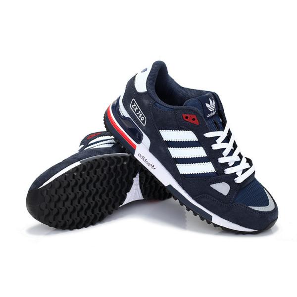Men'sWomen's Adidas Originals ZX 750 Shoes Navy BlueWhite