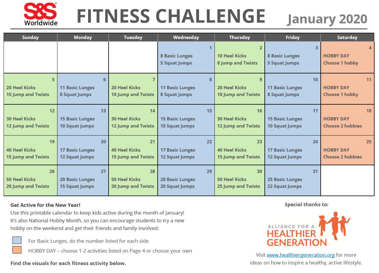 January Printable Fitness Challenge Calendar S S Blog Workout Challenge January Workouts Printable Workouts