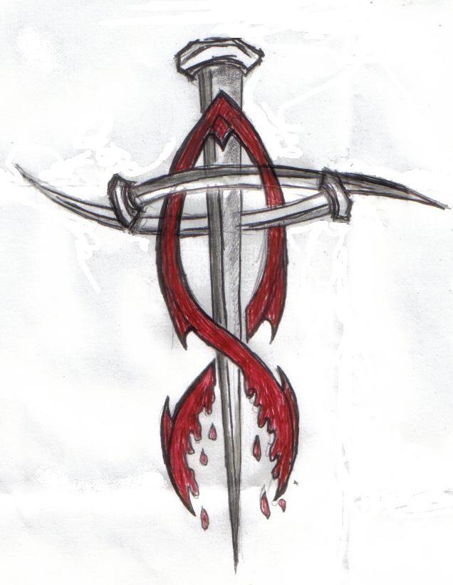 Nail Cross tattoo and tribal fish, change the fish to purple/white ...