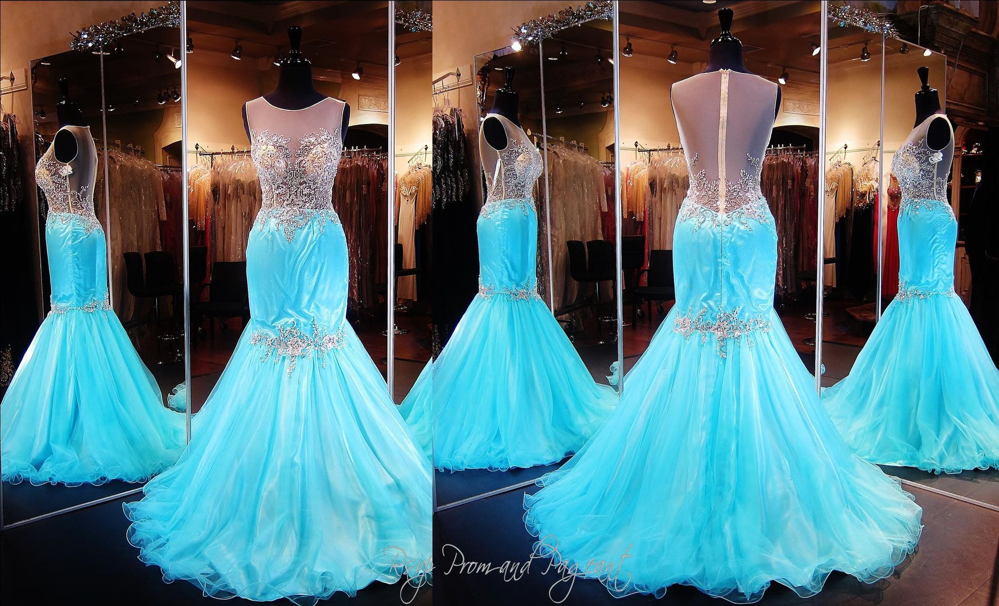 Aqua/Nude Mermaid-Illusion Bodice-High Neckline-Illusion Open Back ...