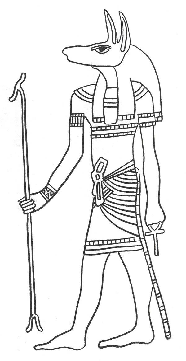 Egypt God Anubis Protector Of The Dead And Embalming Coloring Page