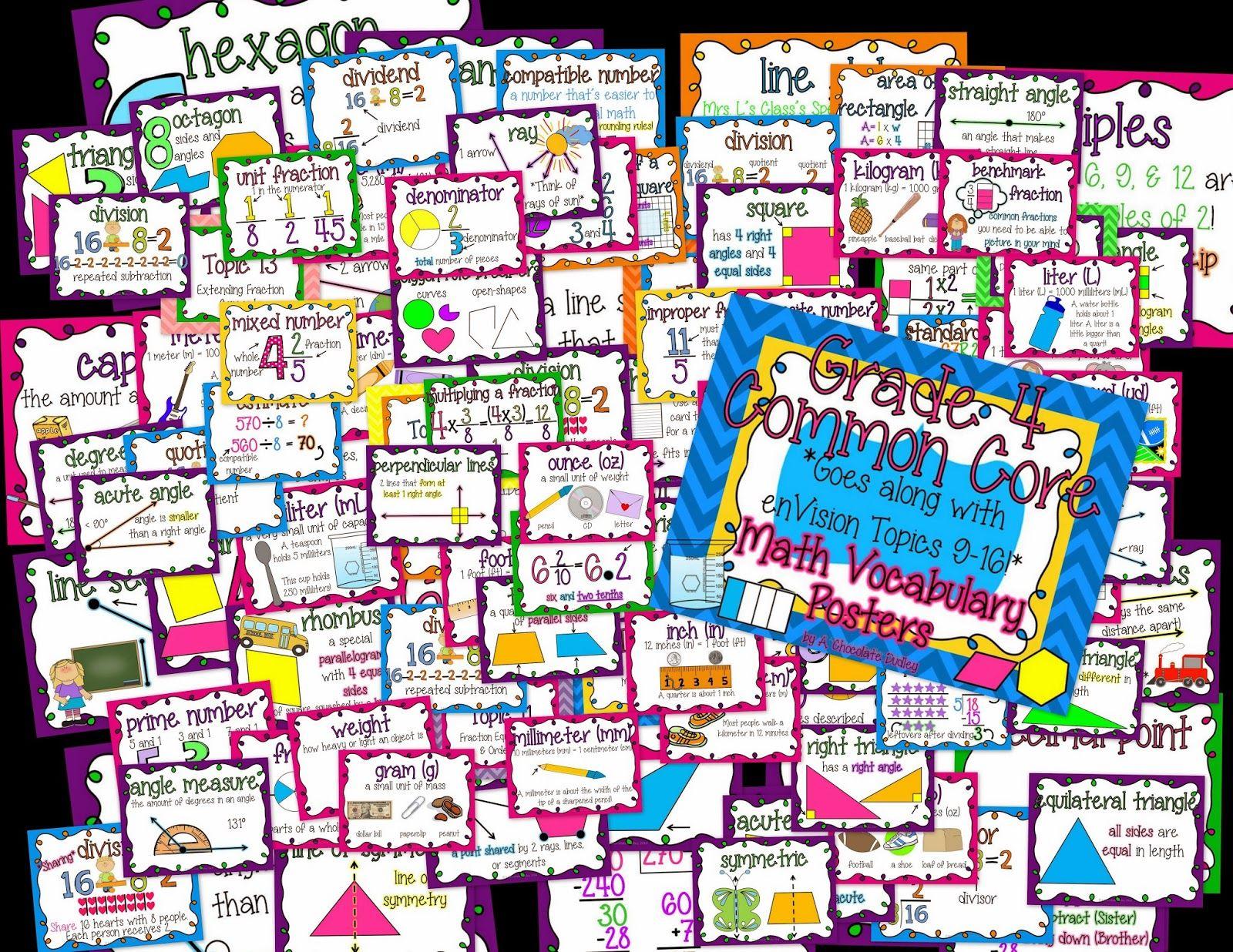 Voila Colorful Grade 4 Math Vocab Posters To Go Along