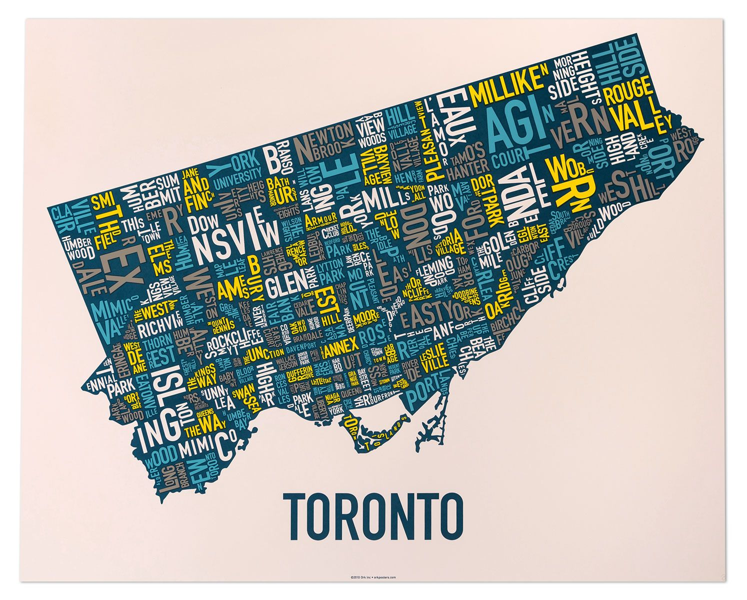 "Toronto Neighbourhood Map Artwork 30"" x 24"" MultiColor"