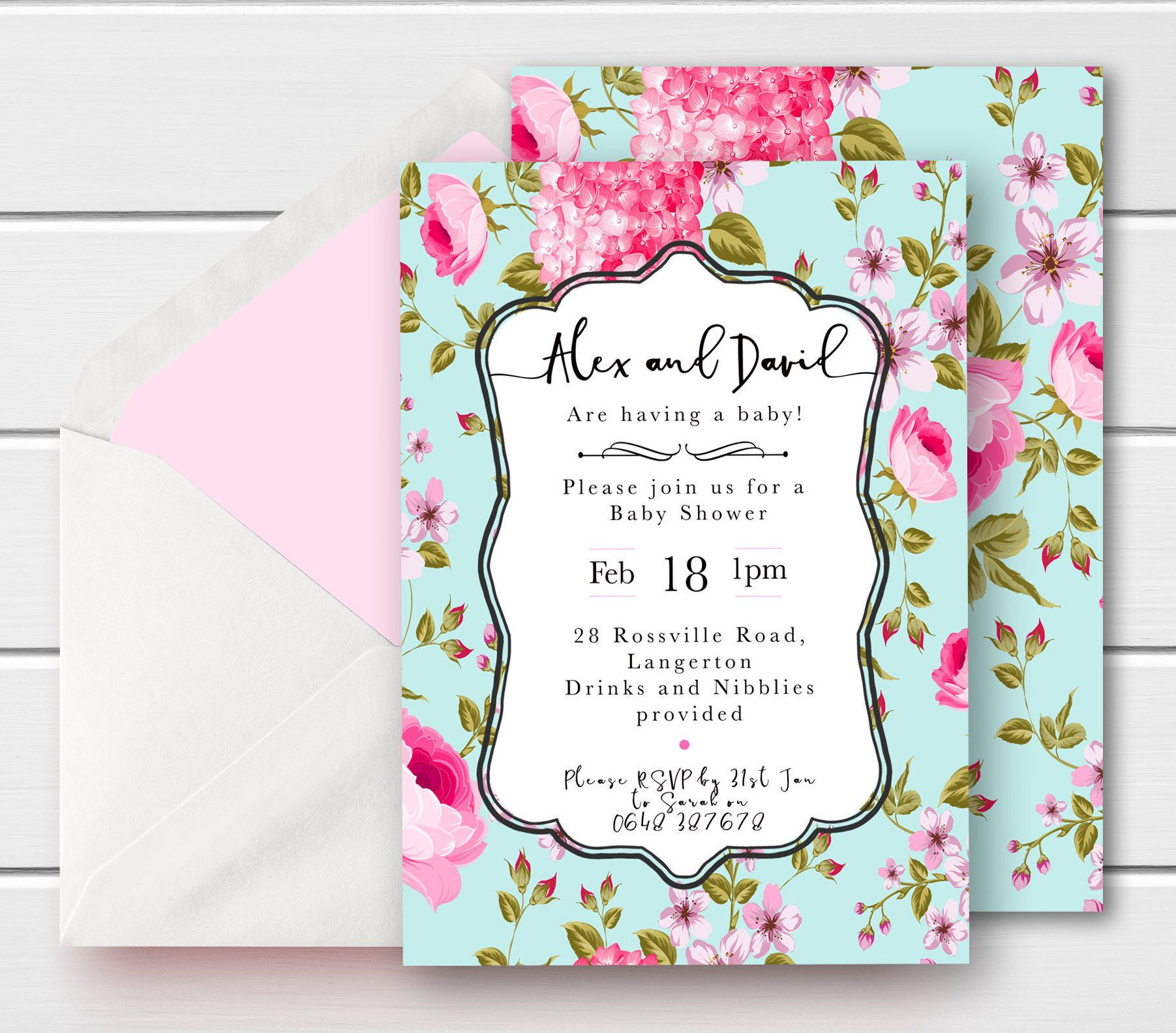 VINTAGE Baby Shower invitation with Pearls Printable Baby shower invite Shabby Chic Invitation Floral shower invite