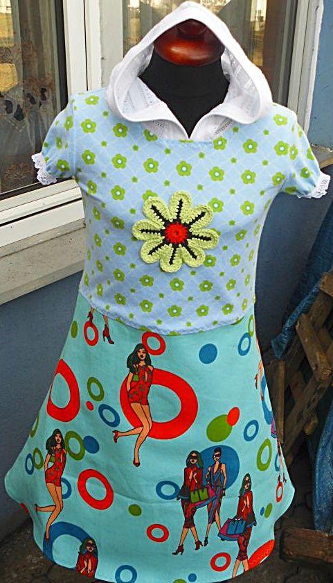 Kleid mit Kapuze Gr. 134140 | Mädchenkleidung Shop Handmade
