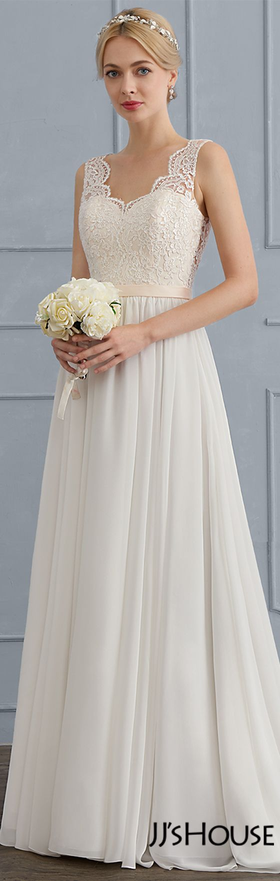 A-Line/Princess V-neck Sweep Train Chiffon Wedding Dress (002124279 ...