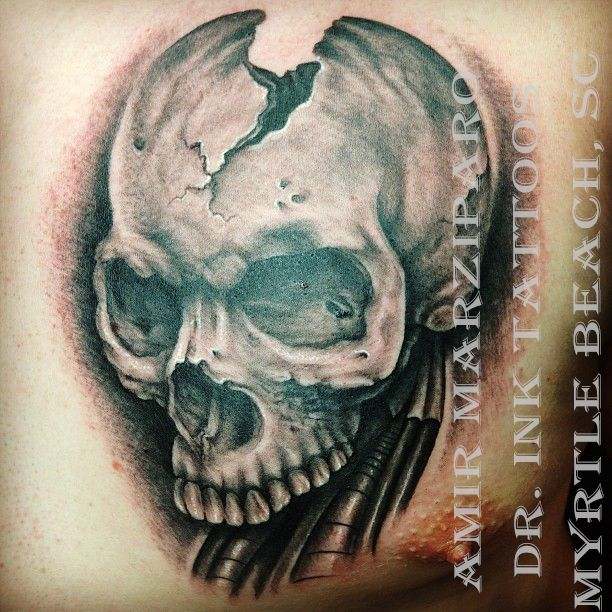 Skull done by amir marziparo at dr ink tattoos in myrtle for Tattoo shops gainesville ga