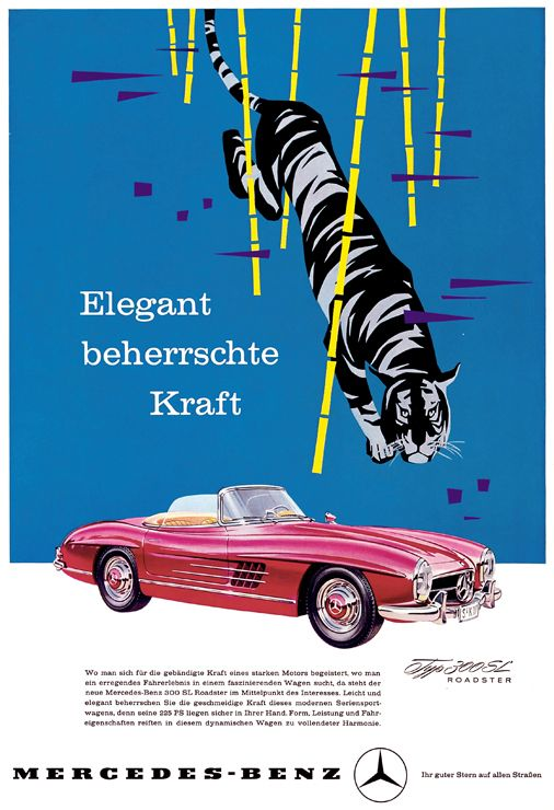 Mercedes Benz History Tradition Advertising Advertisements Posters 300 Sl Roadster Kultowe Reklamy Mercedes Benz Plakat Z Klasa Sl Ro Mercedes Benz Plakat