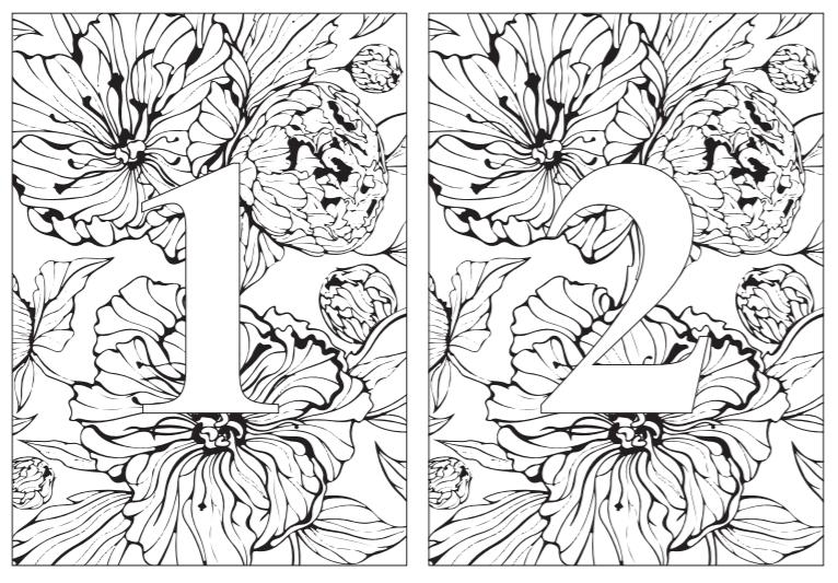 テンプレート無料大人の塗り絵コロリアージュでテーブルナンバーを