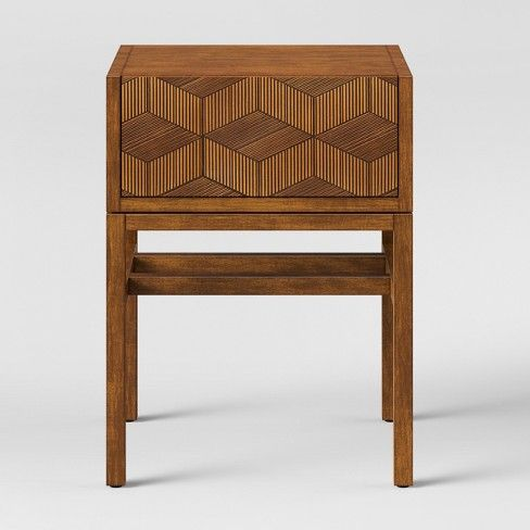 Tachuri Geometric Front Accent Table Brown Opalhouse