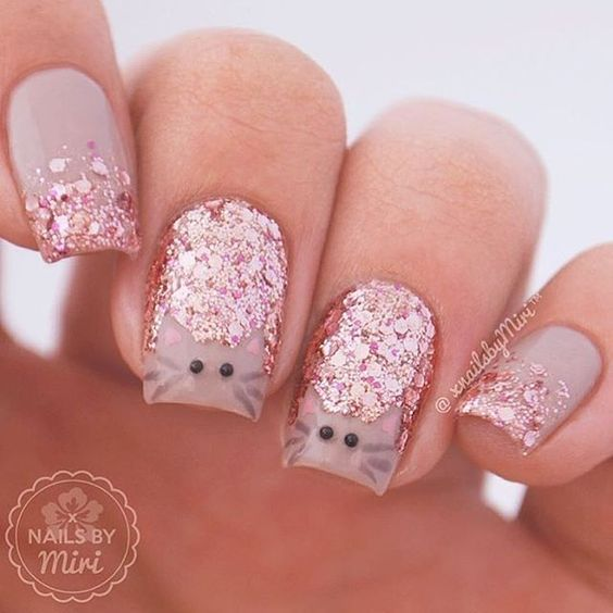 Menchie Vinyls - Sold by Twinkled T - Sparkly Pink Kitty Kat Nail Art Done  by: Nails by Miri - Glitter Nails With Cats Face Cat Nail Designs 2017-2018 Cat Nail
