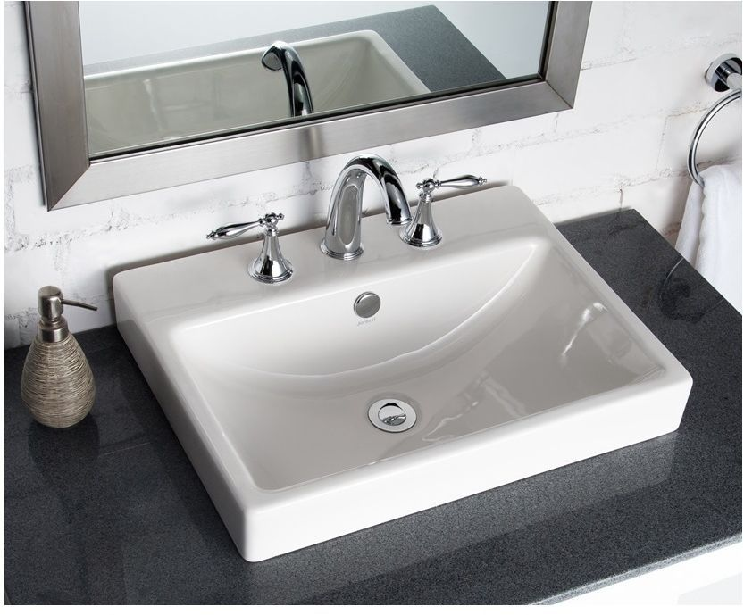 Jacuzzi Anna Farmhouse White Drop In Rectangular Vessel Sink With Overflow  #Jacuzzi