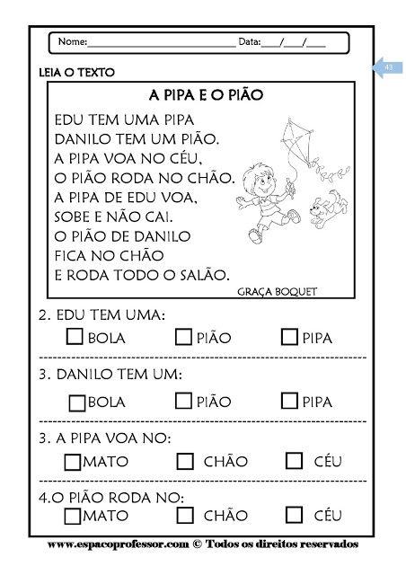 Texto Retrato De Pato Com Atividades Para Alfabetizacao
