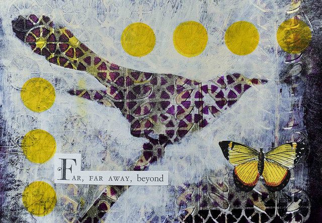 Far, far away, beyond. -By Carol Mikkelson   Mixed media collage postcard with Gelli printed background on bristol board.  I used Golden Open Acrylics and a StencilGirl stencil #SO65.
