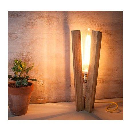 lmpara madera reciclada aspas euna designs - Lamparas De Madera