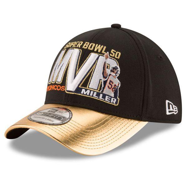 7b095cf68 Men s Denver Broncos Von Miller New Era Graphite Gold Super Bowl 50 MVP  39THIRTY Flex Hat