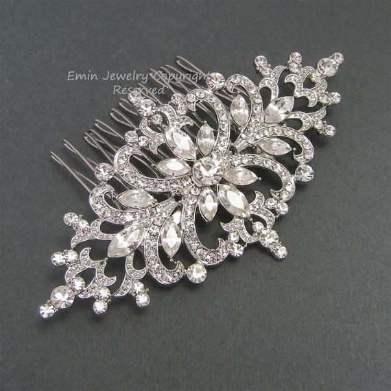 Bridal Hair Accessories, Rhinestone Wedding Hair Comb, Vintage Hair Comb, Crystal Art Deco Wedding Hair Accessories Fascinator   haarkamm