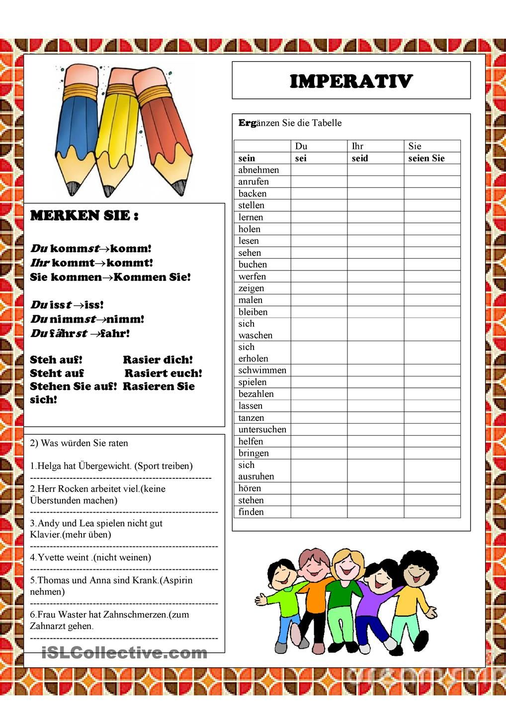 Imperativ | German, Deutsch and Worksheets