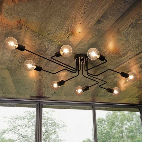 Modern Vintage Ceiling Lights Multiple Rod Wrought Iron Ceiling Lamp E26 27 Bulb Living Room Lamparas For Home Chandelier Lighting Fixtures Wish Ceiling Lights Flush Mount Ceiling Light Fixtures Industrial Ceiling Lights