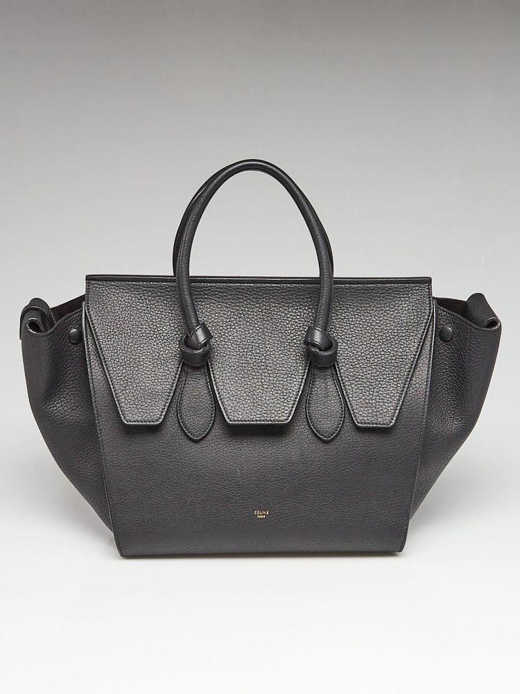 39127890d7 Celine Black Pebbled Calfskin Leather Small Tie Tote Bag  Celine   EverydayBags