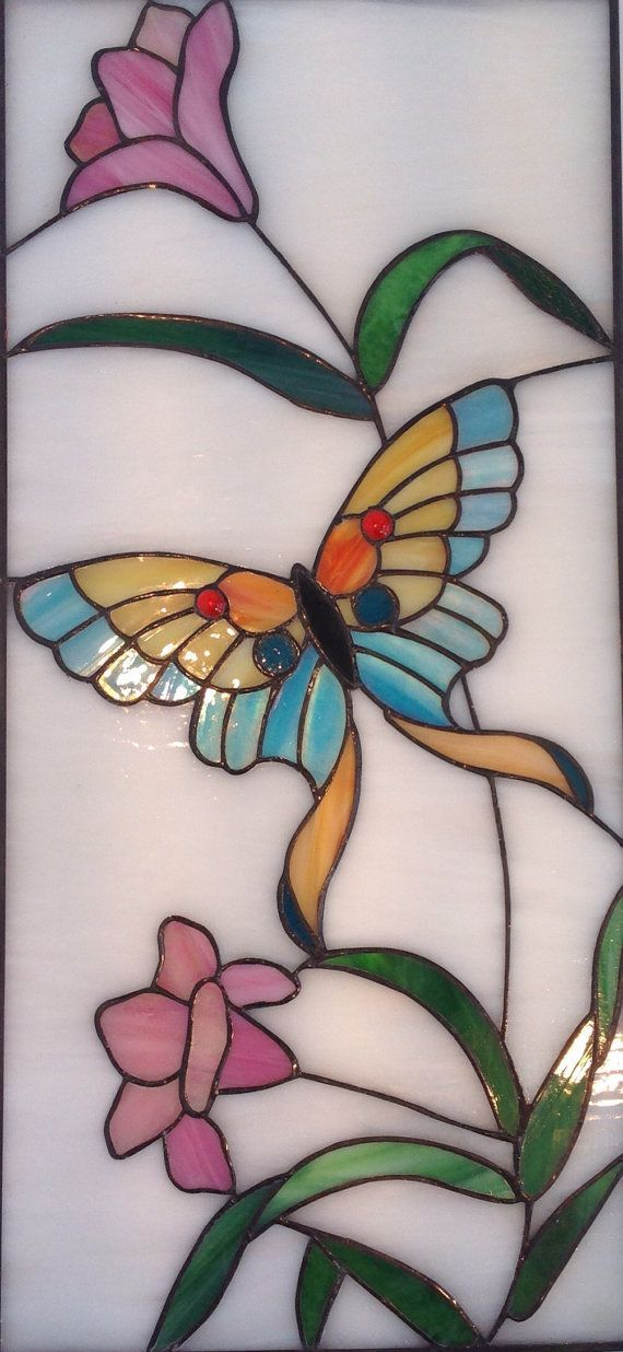 BUTTERFLY STAINED GLASS - Glass Art Panel - Stained Glass Windows ...