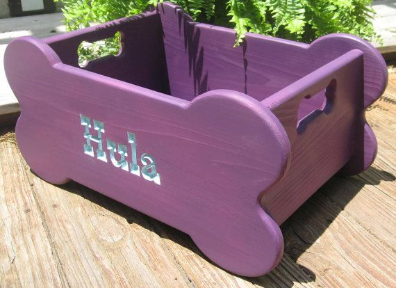 wooden dog bone toy box with bone handles hip purple decor dog